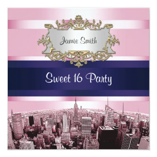 Etched NYC Skyline 2 Pink, Blue Rbn Sweet 16 Party Invitations