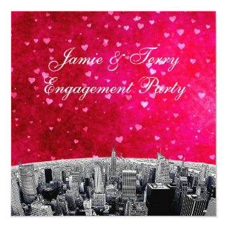 Etched NYC Skyline #2 Pink Red Heart Engagement Card
