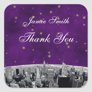 Etched NYC Skyline 2 Purple Gold Star Thank You Stickers