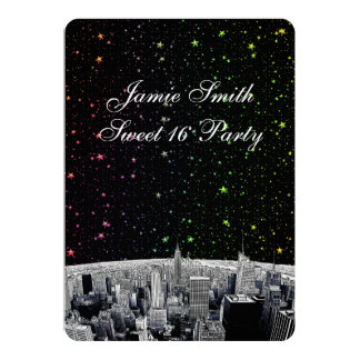 "Etched NYC Skyline 2 Rainbow Star Sweet 16 V 5"" X 7"" Invitation Card"