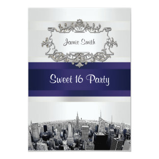 "Etched NYC Skyline 2 White, Blue Ribbon Sweet 16 5"" X 7"" Invitation Card"