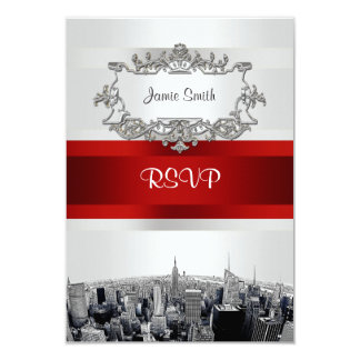 "Etched NYC Skyline 2 White, Red Ribbon RSVP 3.5"" X 5"" Invitation Card"