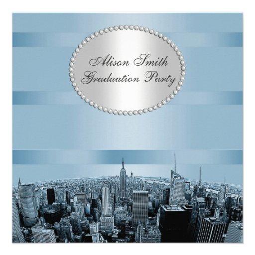 Etched NYC Skyline 2A Black Blue Graduation Invite