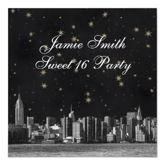 """Etched NYC Skyline #3 Black Gold Star Sweet 16 5.25"""" Square Invitation Card"""