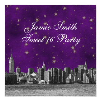 """Etched NYC Skyline #3 Purple Gold Star Sweet 16 5.25"""" Square Invitation Card"""