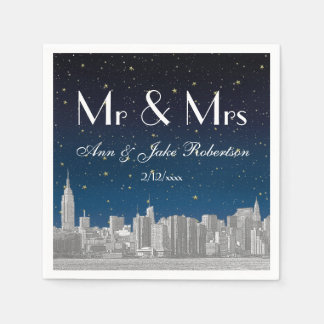 Etched NYC Skyline Blue Starry Wedding Disposable Napkin