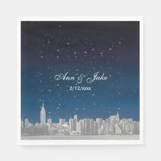 Etched NYC Skyline Blue Starry Wedding Paper Napkins