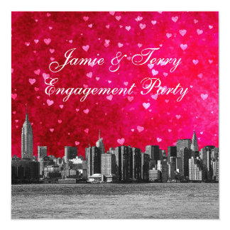 """Etched NYC Skyline Hot Pink Red Heart Engagement 5.25"""" Square Invitation Card"""