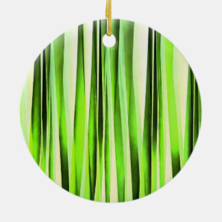 Eternal Evergreen Stripy Pattern Ceramic Ornament
