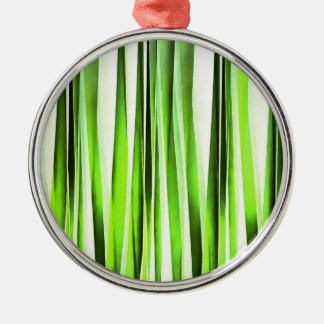 Eternal Evergreen Stripy Pattern Metal Ornament
