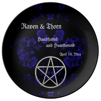 Eternal Handfasting/Wedding Pentacle Blue Ste Porcelain Plates