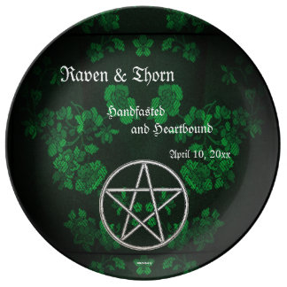 Eternal Handfasting/Wedding Pentacle Green Ste Plate