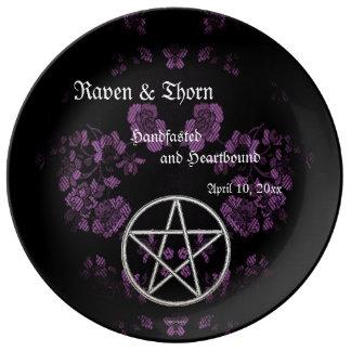 Eternal Handfasting/Wedding Pentacle Lavender Ste Porcelain Plates