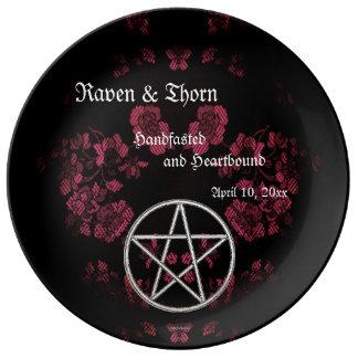 Eternal Handfasting/Wedding Pentacle Pink Ste Porcelain Plates