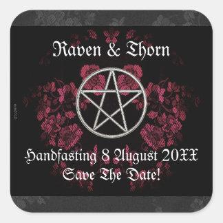 Eternal Handfasting/Wedding Pentacle Pink Ste Square Sticker