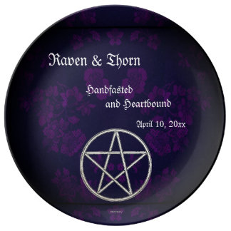 Eternal Handfasting/Wedding Pentacle Purple Suite Porcelain Plate