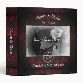 Eternal Handfasting/Wedding Pentacle Red Ste 3 Ring Binders