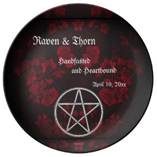 Eternal Handfasting/Wedding Pentacle Red Suite Plate