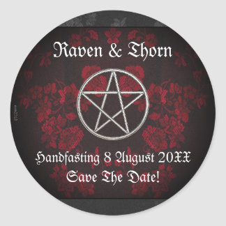 Eternal Handfasting/Wedding Pentacle Red Suite Round Sticker