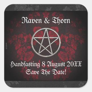 Eternal Handfasting/Wedding Pentacle Red Suite Square Sticker