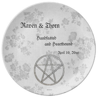 Eternal Handfasting/Wedding Pentacle White Ste Plate