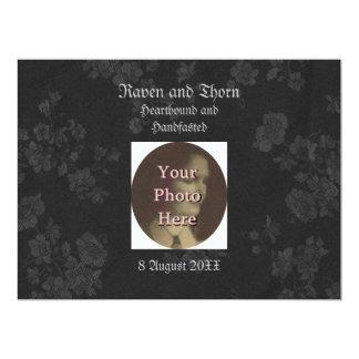 "Eternal Handfasting/Wedding Suite Black & Gray 6.5"" X 8.75"" Invitation Card"