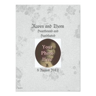 "Eternal Handfasting/Wedding Suite White & Gray 6.5"" X 8.75"" Invitation Card"