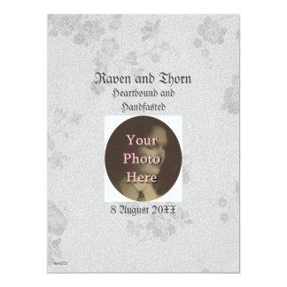 "Eternal Handfasting/Wedding Suite White & Gray 6.5"" X 8.75"" Invitation Card"