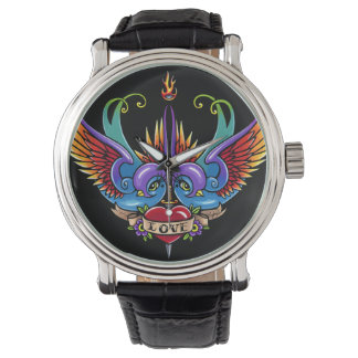Eternal Love Swallow Tattoo Black Leather Watch