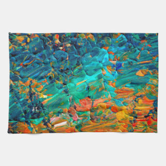 ETERNAL TIDE 2 Orange Turquoise Blue Black Ombre Kitchen Towel