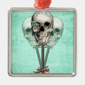 Eternally Sweet lollipop skull. Silver-Colored Square Ornament