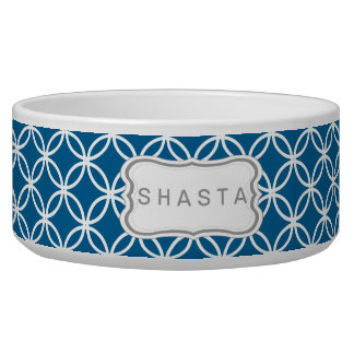 Eternity Circle Pattern Dog Bowl - electric blue
