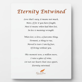 Eternity Entwined Poem Plaque