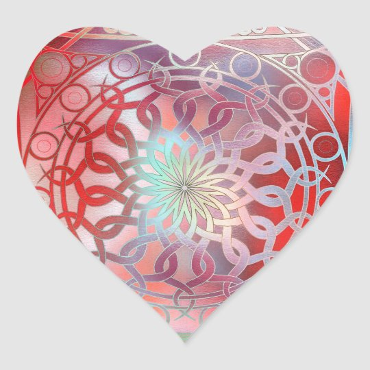 Eternity Mandala Red and Turquoise Heart Sticker