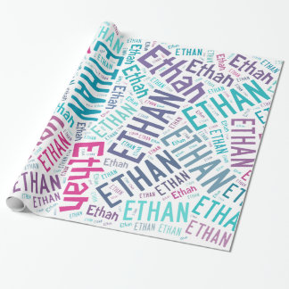 ETHAN Name text design Wrapping Paper