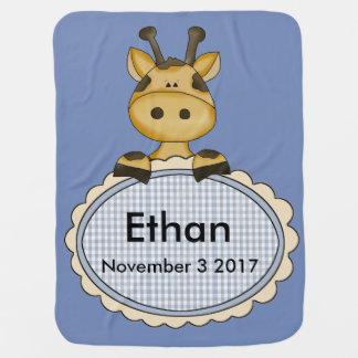 Ethan's Personalized Giraffe Stroller Blanket