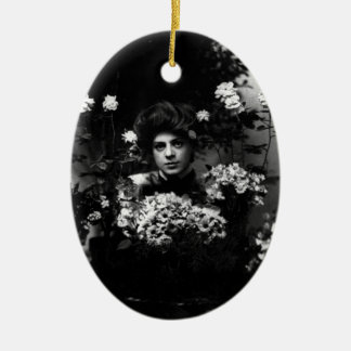 Ethel Barrymore Actress Surrounded by Flowers Ceramic Oval Ornament