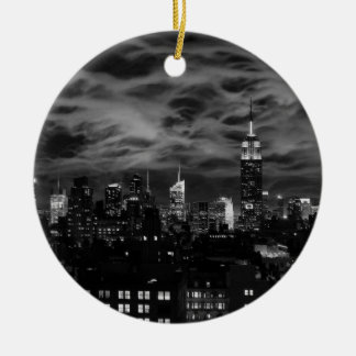 Ethereal Clouds: NYC Skyline, Empire State Bldg BW Ceramic Ornament