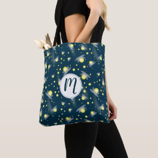 Ethereal Glowing Fireflies at Night Pattern Tote Bag