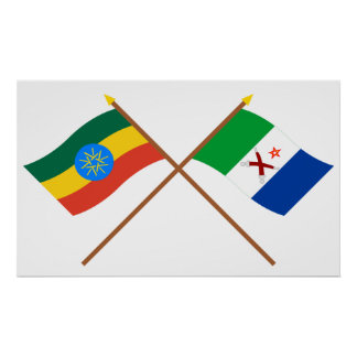 Ethiopia and Afar Crossed Flags Poster