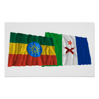 Ethiopia and Afar Waving Flags Poster