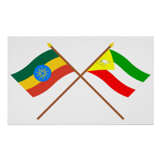 Ethiopia and Somali Crossed Flags Poster