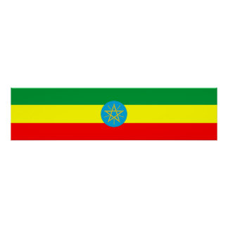 ethiopia country flag long symbol poster