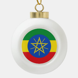 Ethiopia Flag Ceramic Ball Christmas Ornament