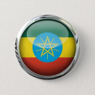 Ethiopia Flag Glass Ball 2 Inch Round Button