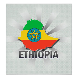 Ethiopia Flag Map 2.0 Poster