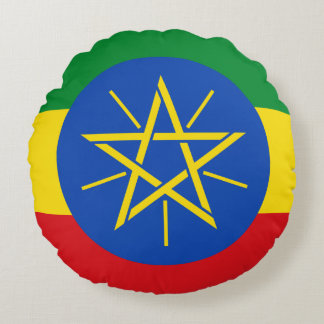 Ethiopia Flag Round Pillow