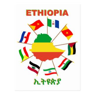 Ethiopia Flags Pinwheel with Flag Map Postcard
