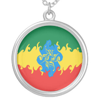 Ethiopia Gnarly Flag Round Pendant Necklace