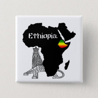 ETHIOPIA / LION of JUDAH 2 Inch Square Button